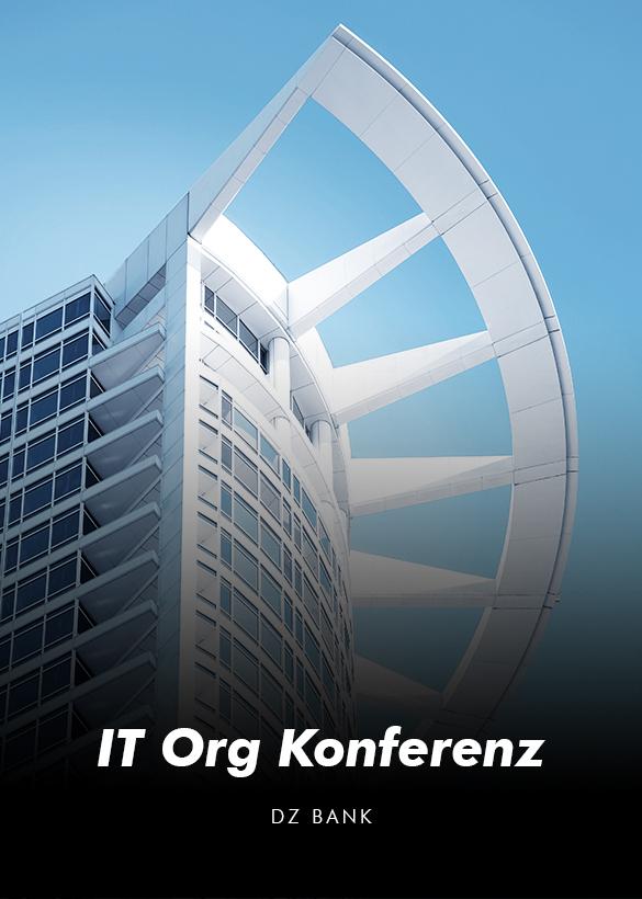 """Das Cover des Online Events """"IT Org Konferenz"""" der DZ Bank, produziert von dem Live Streaming Anbieter Mainfilm"""